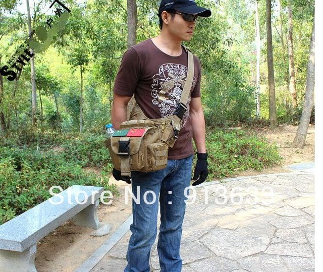 In stock MOLLE TACTICAL SHOULDER STRAP BAG POUCH BACKPACK BROWN COLOR