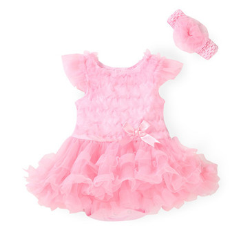 2015 Fashion Girls Clothing Set Baby Dress Rompers + Headband lovely Newborn/Infantil 100% cotton Summer Flower Jumpsuit