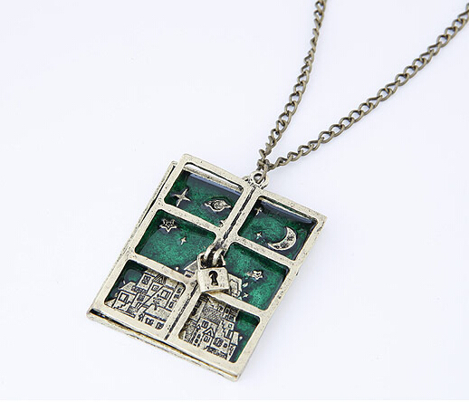 Vintage Style Lock Window Shaped Pendant Necklace Green Enamel Sky Long Chain Necklace Jewelry For Women(China (Mainland))