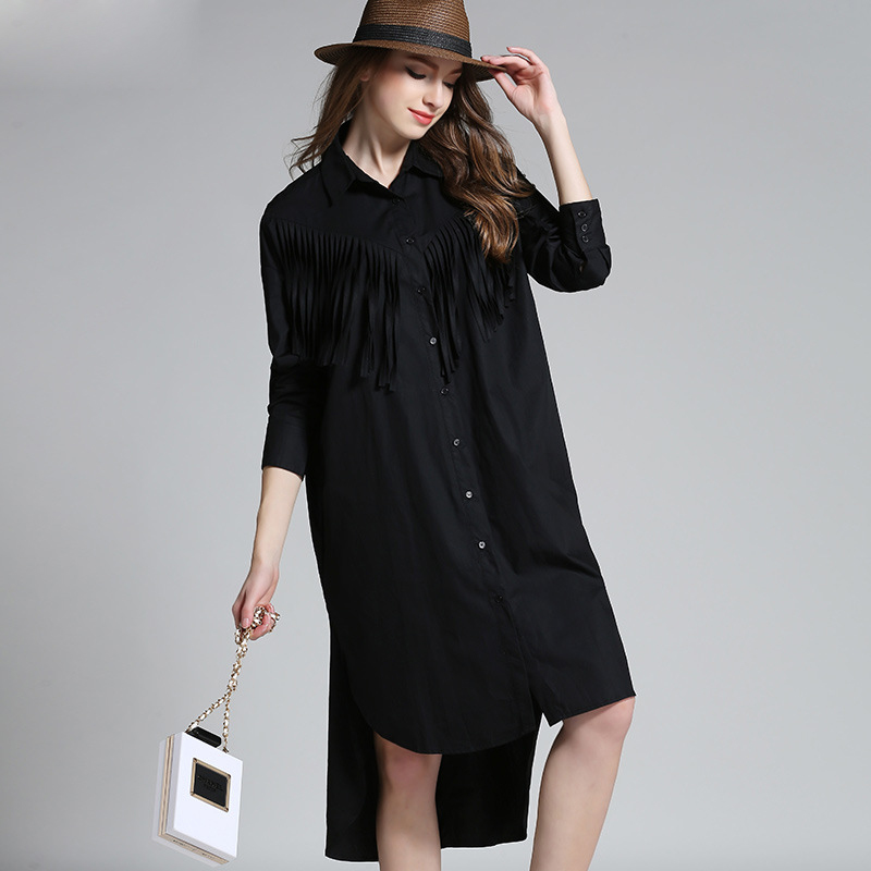 [TWOTWINSTYLE] 2016 Spring Clothing Shirt Plus Size XXL Big Yards Dress Lapel Tassel Long-Sleeved Shirts WomenОдежда и ак�е��уары<br><br><br>Aliexpress