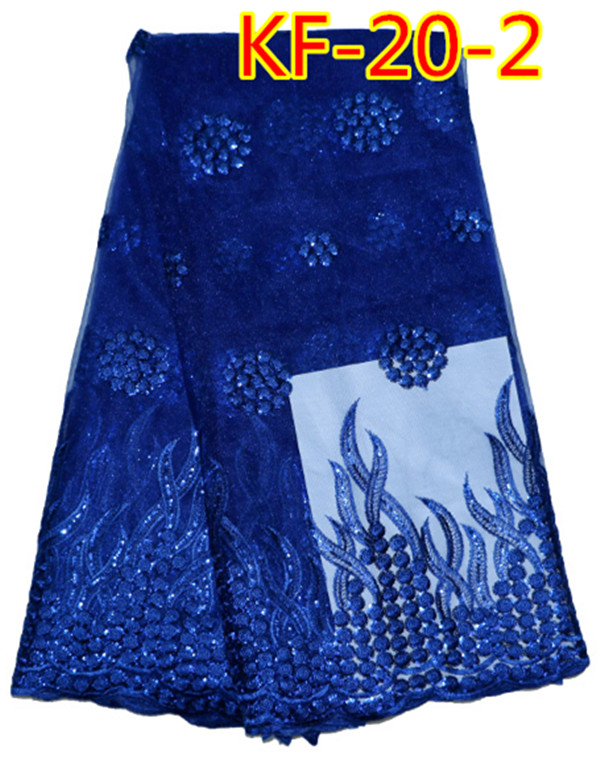 High quality market price royal blue African French tulle lace fabric KF-20(China (Mainland))