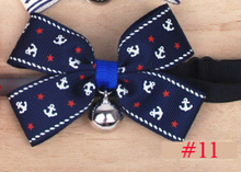 26 style Wonderful Pet Dog Handmade Necklace Accessories Cat Collar Bow Tie Adjustable 20-38cm Cat Collar with Bell size 6.5*9cm(China (Mainland))