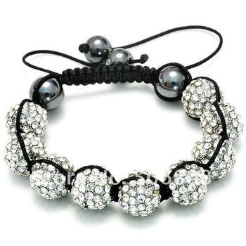 Newest Black Macrame String, Clear Crystal Pave Ball Beads, Adjustable Rhinestone Shamballa Bracelets With Hematite Jewelry