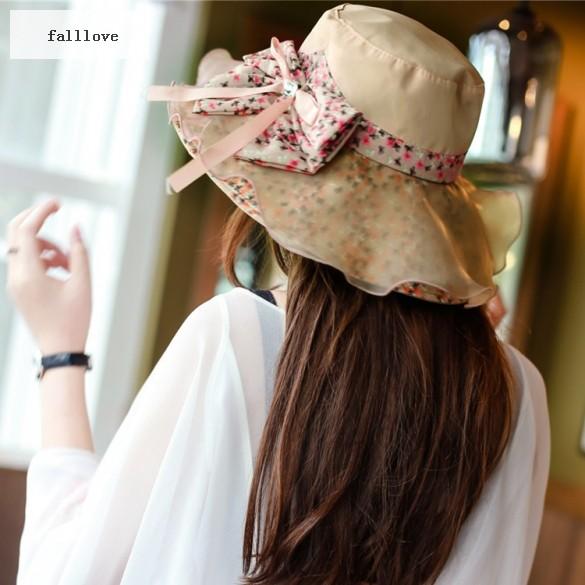 2015 Fashion Summer Hat Women's Ladies' Packable Large Sunscreen Cap Bow Decor Beach Hat Sun Hat Women 22(China (Mainland))