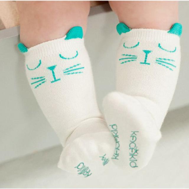 Новорожденный Малыш колено высокие носки Мальчик Девочка Носки анти скольжения Милый Кот Занос Сопротивление гетры Для новорожденных младенческой