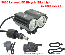 Bicycle light accessories Bike Led lamp Waterproof SolarStorm X2 5000 Lm 2x Cree U2 Cycling Lamp 4x 18650 Battery Pack + Charger(China (Mainland))