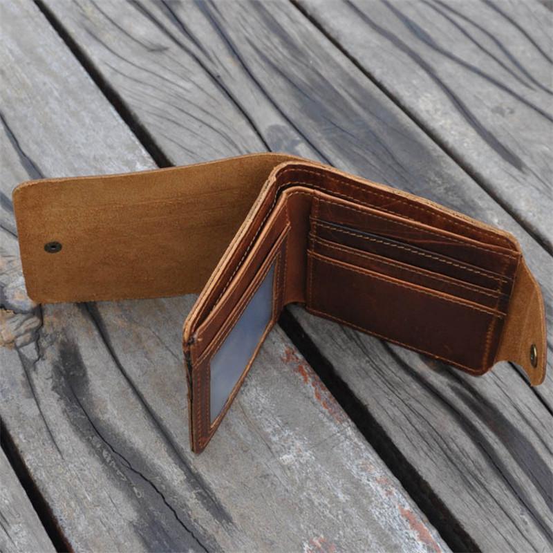 Luxury Designer Vintage Handmade 100% Genuine Crazy Horse Leather Cowhide Men Wallet Purse Card Holder With Hasp Wallets Men<br><br>Aliexpress