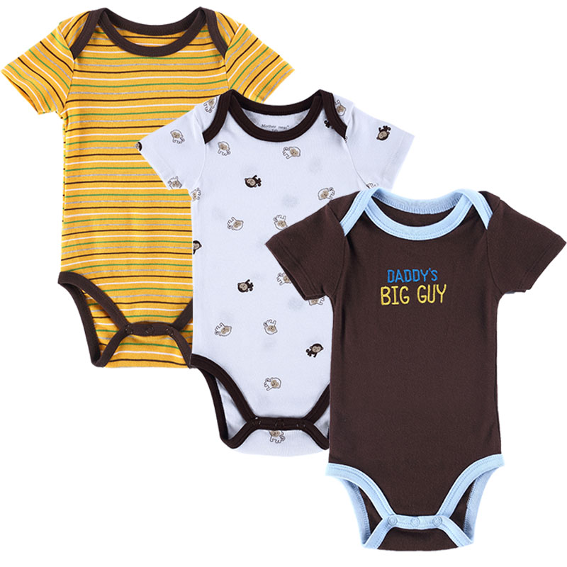 3 PCS/LOT Carters Baby Boy Clothes Newborn Baby Romper Set Short Sleeved Cotton Baby Romper Toddler Underwear Infant Clothing