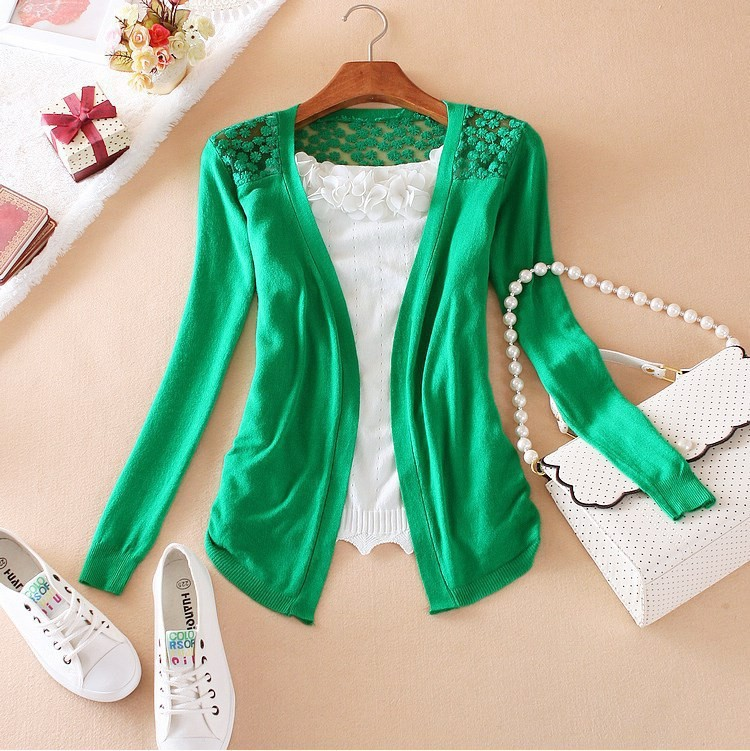 New 2015 Hot Fashion Women Cardigan Sale Lace Sweet Candy Pure Color Slim Crochet Knit Blouse Sweater Cardigan 034(China (Mainland))