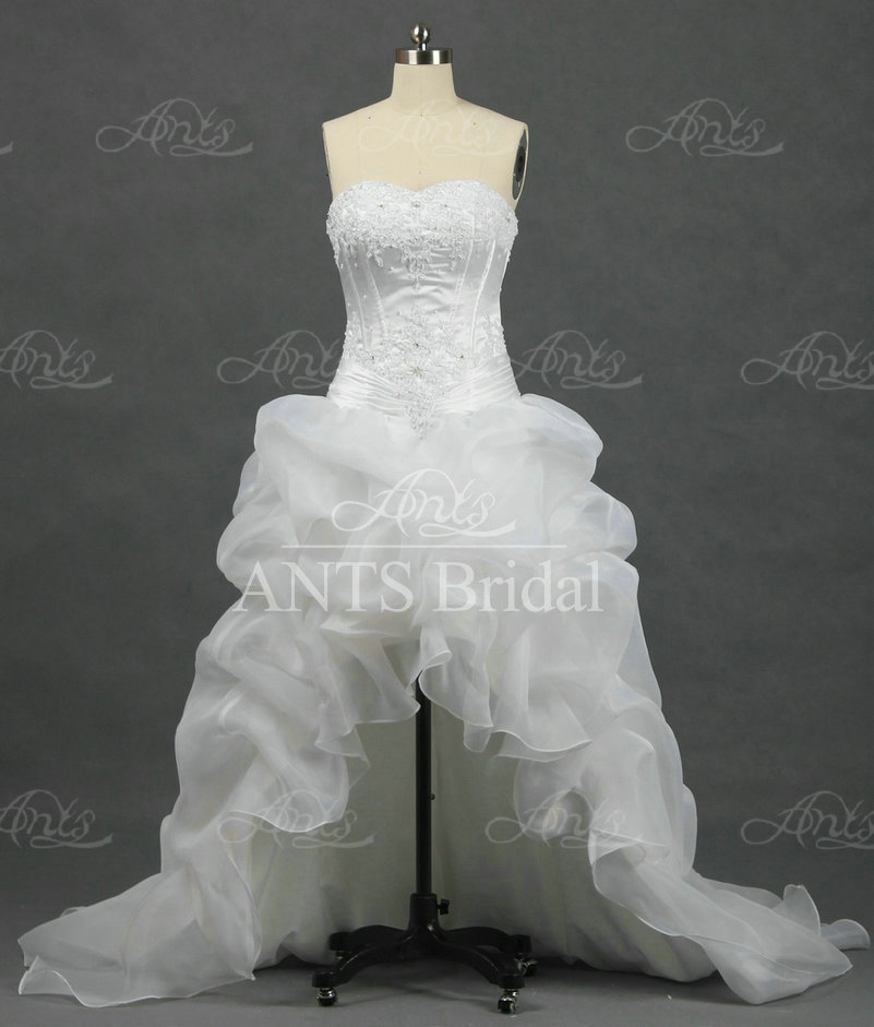 Off the shoulder Sweetheart A-Line Short front long train Wedding Dresses Real Sample RW272(China (Mainland))