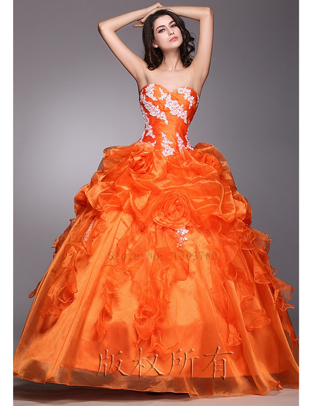 In stock 2016 fashion Flowers Ball Gown Appliques Ruffles Quinceanera Dress Organza Ruched vestidos de 15 anos sweet 16 dresses(China (Mainland))