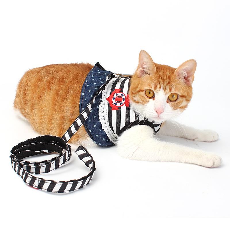 Sailor Stripe Pet Cat Harness Vest Leashes Suit Pet harness Pet Puppy Cat Harness Leashes for small cat pet XS S M L XL(China (Mainland))