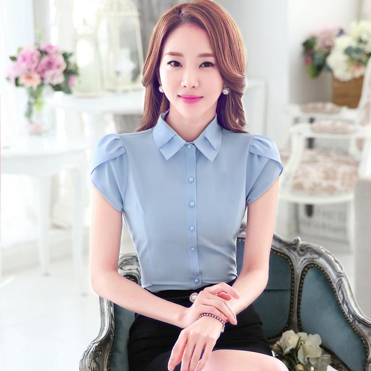 Summer Petal Sleeve Business Shirts Formal Women Blouses Solid Color Bottoming Shirt(China (Mainland))