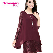 Women chiffon summer dresse Lace Crochet Long sleeve shirt Plus Size 4xl 5xl fashion lady tops 2016 women blouse DTCX112