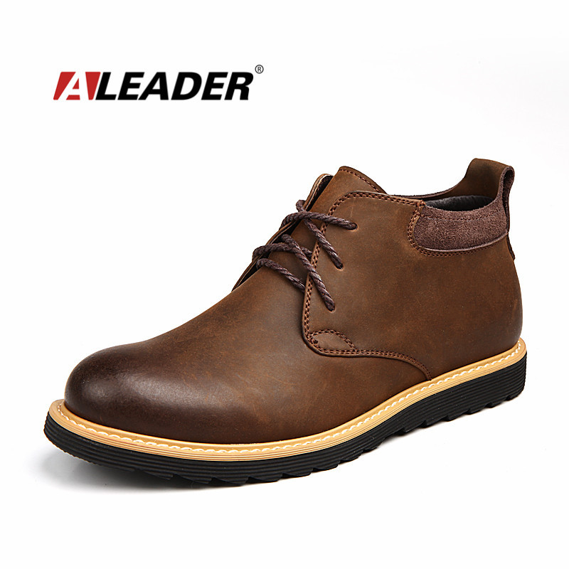 Waterproof Boots Men Leather 2015 Autumn Casual Lace Up Ankle Boots Western Winter Mens Shoes Fashion British Dress Boots Botas(China (Mainland))