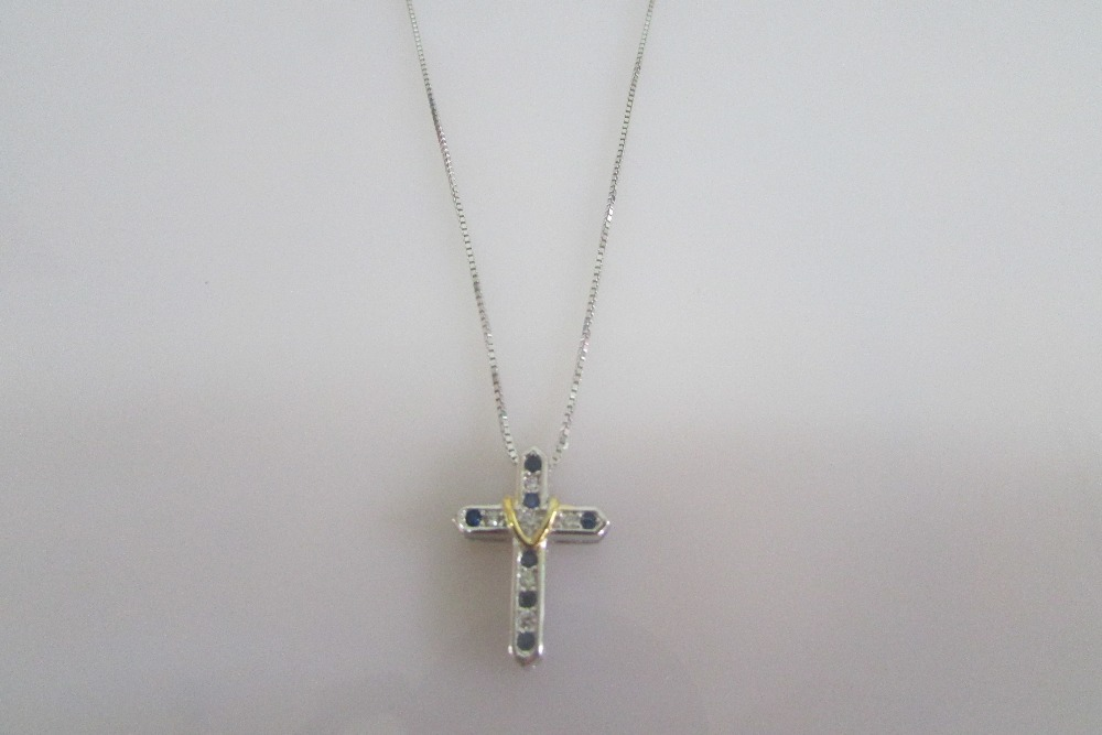 promotional 925 sterling silver necklace cross pendant sapphire zirconia for women fine jewelry wholesale(China (Mainland))