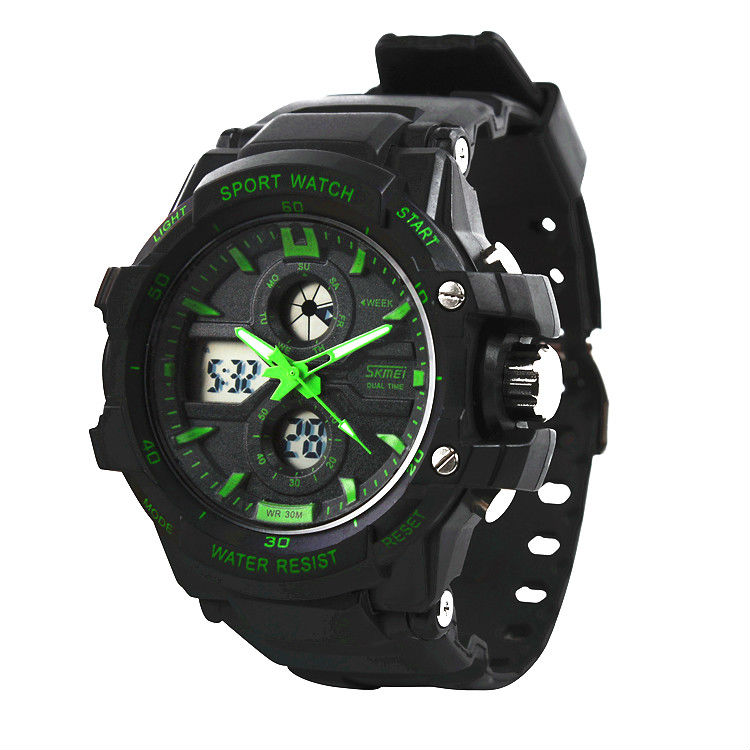 30m waterproof watch 2013 new digital and analog dual display sports watches high quality hour for Military grade watches