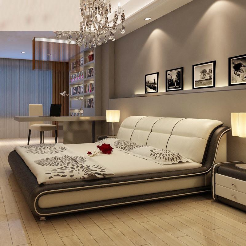 Hot Sale American Style Modern Real Genuine Leather Bed / Home Furniture Soft Bed/Double Bed King/Queen Size Bedroom(China (Mainland))