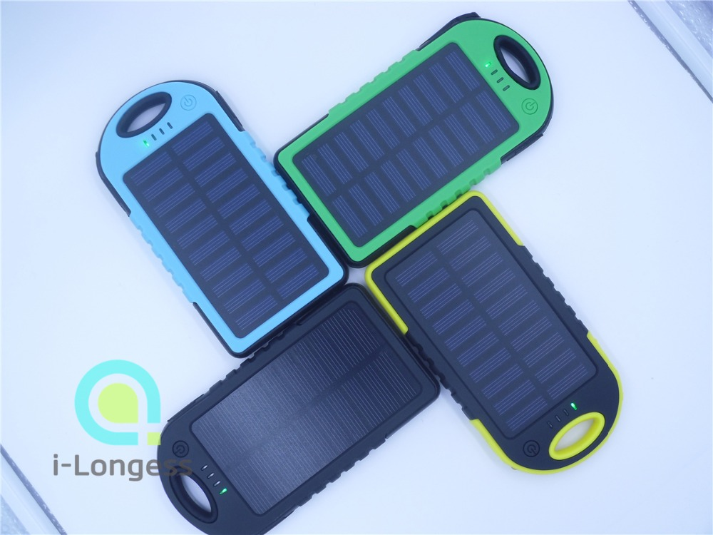 2016Newest Dual USB Waterproof Solar Charger 5000mAh External Battery portable travel Solar power bank for all Mobile Phone(China (Mainland))