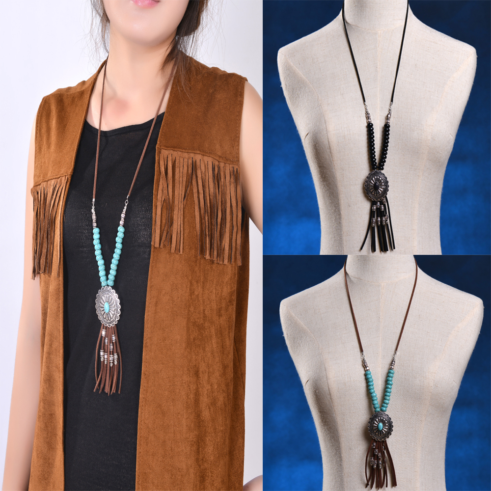 Bohemian fringe necklace women Boho vintage silver Neck Dramatic Suede Long Tassel Chain Resin Turquoise pendant Ethnic Necklace<br><br>Aliexpress