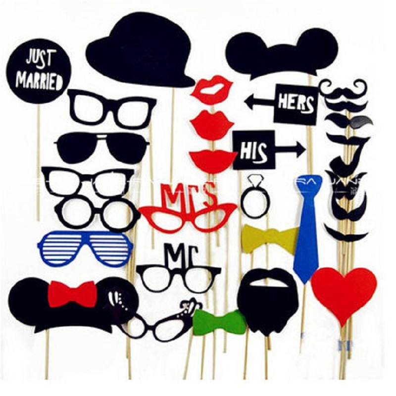 34PCS DIY Party Masks Photo Booth Props Mustache On Stick Wedding Party Decoration Birthday Party Favors Mustache Lips 2016 New(China (Mainland))