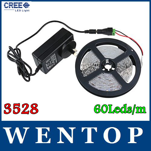 5M 3528 300Leds Warm white Yellow Red Green Blue SMD Flexible Light Strip and 12V 3A EU/US/AU Power Supply with tracking number