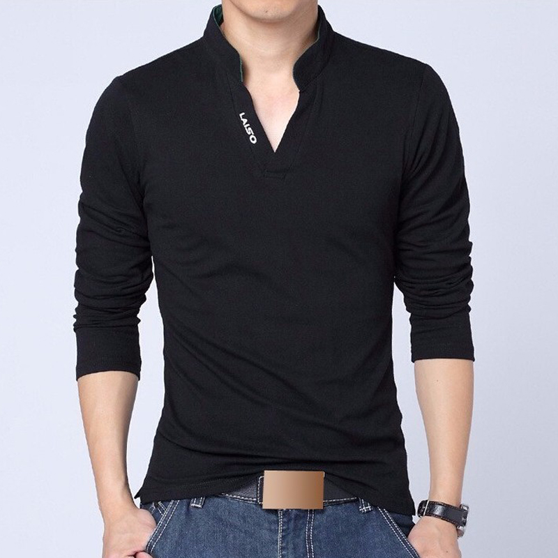 Men polo shirt mens long sleeve solid polo shirts camisa for Mens dress shirt sleeve length