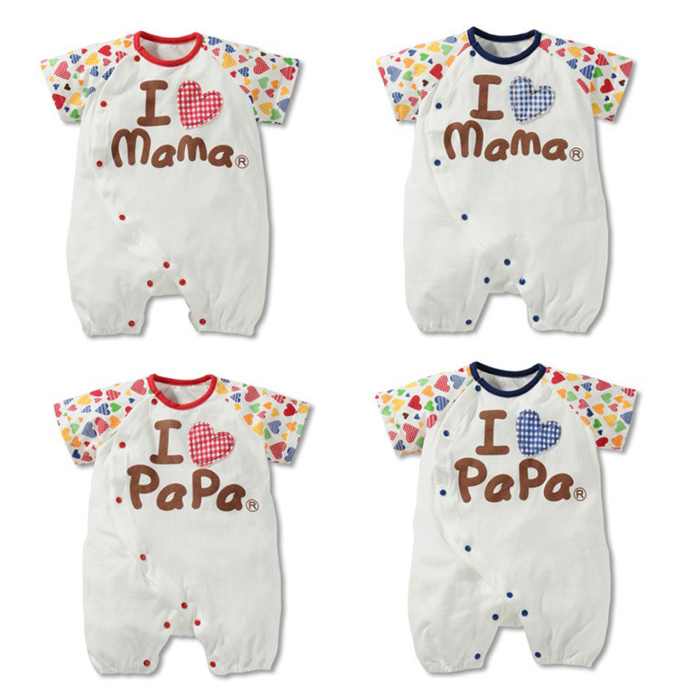 baby girls & boys Clothing Rompers kids short & One-Pieces children I love mama papa clothes conjuntos summer 2015(China (Mainland))