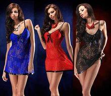 Sexy Women Lingerie Black Red Underwear Sleepwear Babydoll String Lace Dress