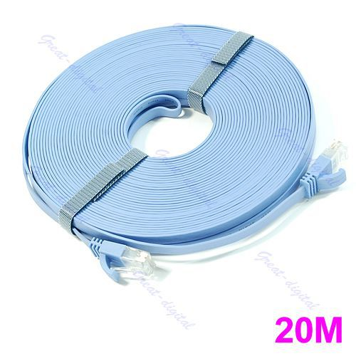 J34 Free Shipping 20M RJ45 CAT6a Flat Ethernet Patch Internet Lan Network Cable Wire Cord Lead Blue(China (Mainland))