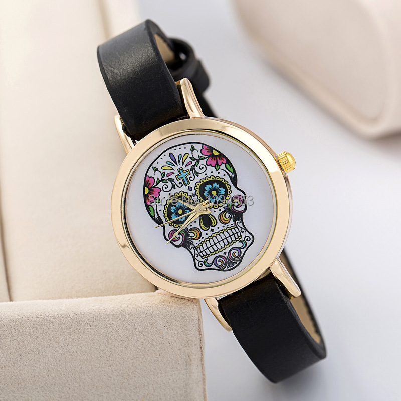 2016 Offer Hot Sale promotion Glass Alloy Relogios Femininos Whimsy Fashion Leather Strap Skulls Restoring Ancient Ways Watch(China (Mainland))