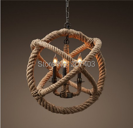 Loft retro creative pastoral hemp rope chandelier classic American country style iron lamp - Xin Ding Tai Lighting Technology Co., Ltd. store