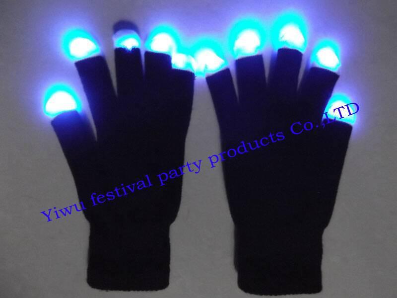 Free shipping Wholesale - LED Gloves Rave light show fingers Colorful Lighting, flashing / light-up glove(China (Mainland))