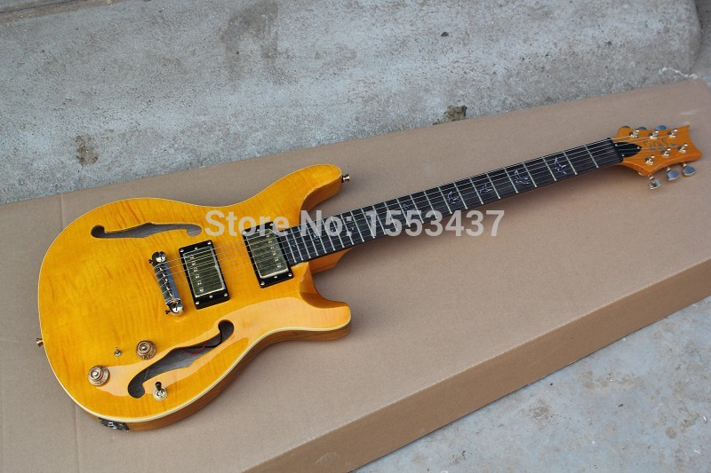 Free shipping 2015 Hot Sell Music Instrument Half a hollow JAZZ PRS Private Stock orange Guitar(China (Mainland))