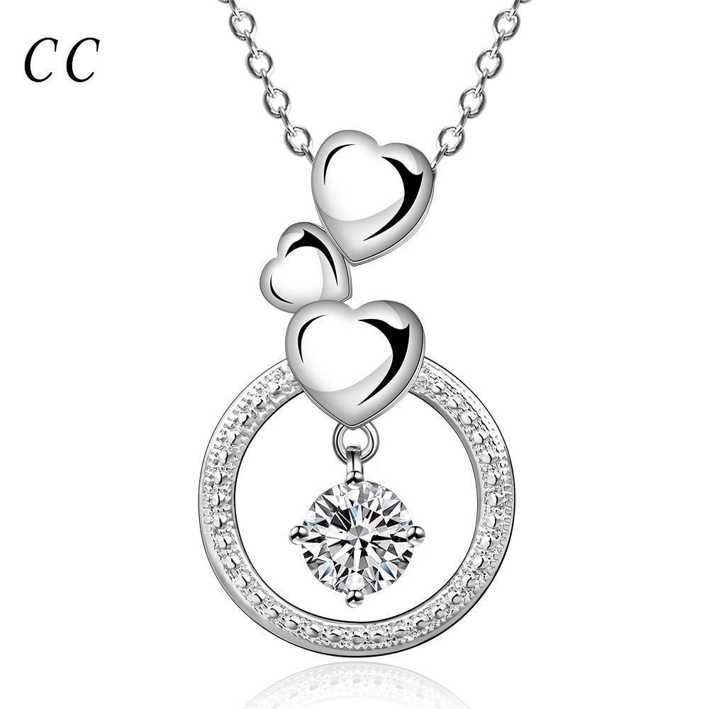 Sweet three small heart pendants & necklace for women silver plated round CZ diamond wedding fashion jewelry for couple CCNE0795(China (Mainland))