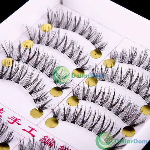 ChicQueen Long 10 Pairs Upper Curl Soft False Eye lashes Black Handmade Make up Extensions(China (Mainland))