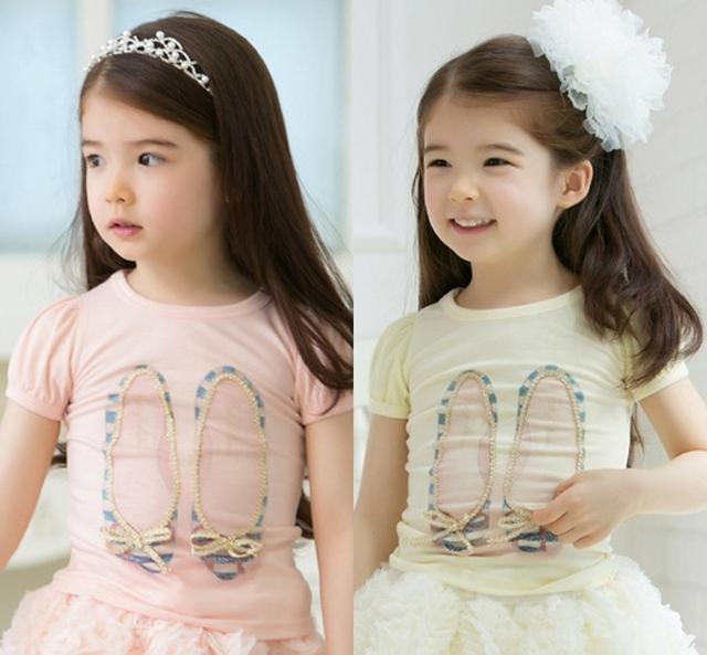 Лето дети в одежда девочек - рубашки кружево обувь узор дети рубашка / девочка верхний рубашка