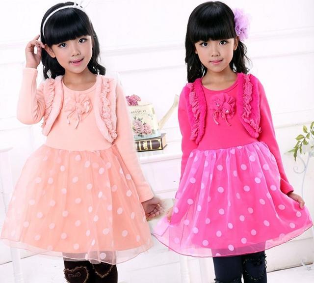 3 цвет новые зимние дети девушка с длинными рукавами платья девушки точка платье принцессы детей пачек платье