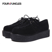 new 2016 fashion women's flats casual lace up solid creepers flat platform round toe England women flats shoes big size 35-41