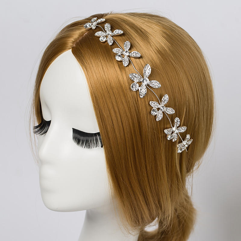 Silver Plated Crystal Floral Vine Tiara Headband - Bridal Wedding Hair Accessories(China (Mainland))