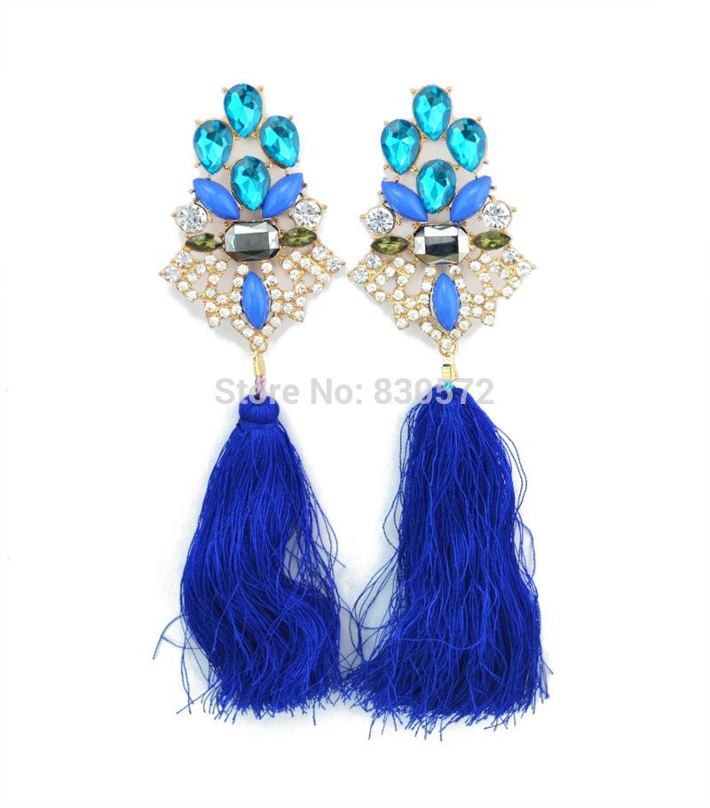 1pair 2015 fashion korean gold tone long blue cotton tassels drop stars dangle earrings womens eardrop earing jewelry brincos D1(China (Mainland))