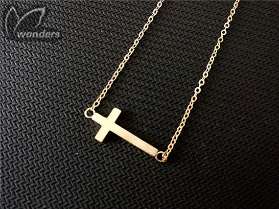Sideways tiny sideways Skinny Dainty cross necklace Gold bridesmaid<br><br>Aliexpress