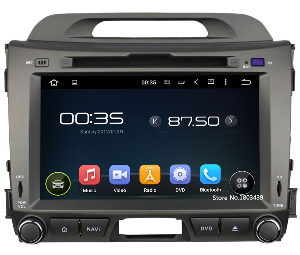 "Quad Core 8"" 1024*600 2DIN Android 5.1.1 Car DVD Video Player Radio BT FM DAB+ 3G/4G WIFI GPS Map For KIA SPORTAGE R 2010-2015"