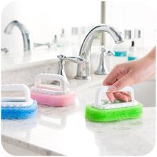 Household Cleaning Supplies for Kitchen Bathroom Plastic Dirts Brush Handle Sponge Brush Tile Shower Bathtub Scrubber(China (Mainland))