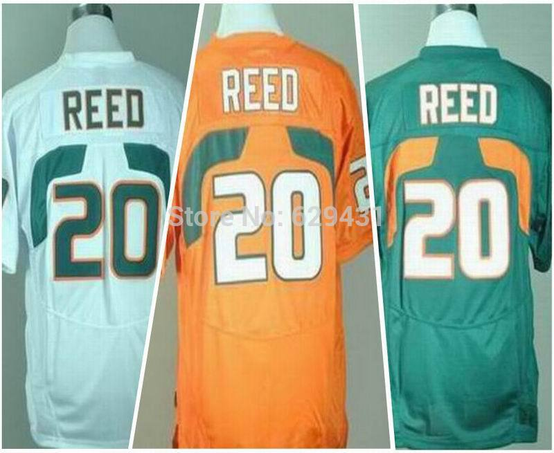 Free Shipping New Style Cheap Ed Reed Jersey #20 Miami College Football Jerseys Orange/White/Green Embroidery Logo(China (Mainland))