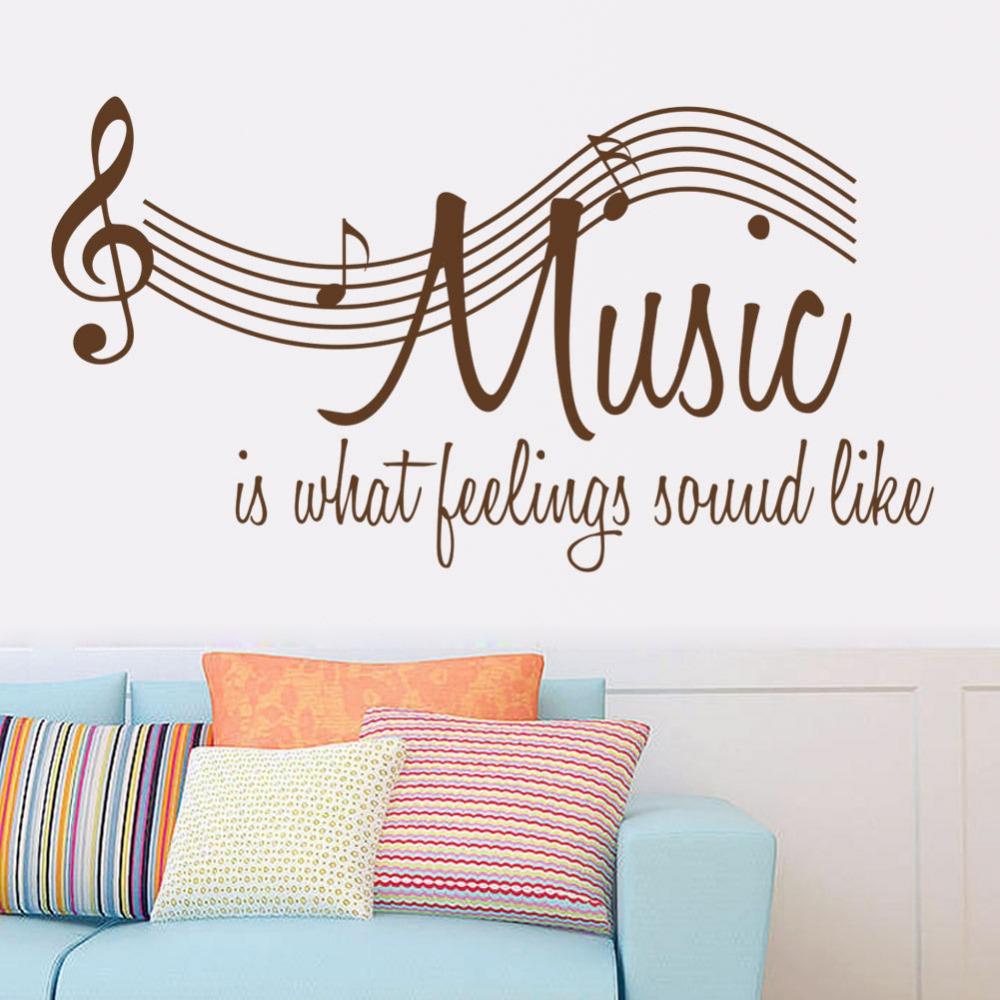 Music Vinyl Wall Decal Quote Music Notes Concert Hall Mural Art Wall Sticker DJ Band Room Music Class Decor Bedroom Decoration(China (Mainland))