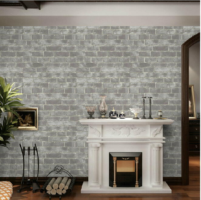 Chinese style vintage 3d effect grey brick wallpaper roll for 3d brick wall covering