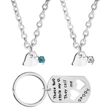 3 Parts Couple Necklaces Letter The Two Stole My Heart They Call me DADDY Cute Pendants Key Chains For Fathers Day Gifts(China (Mainland))