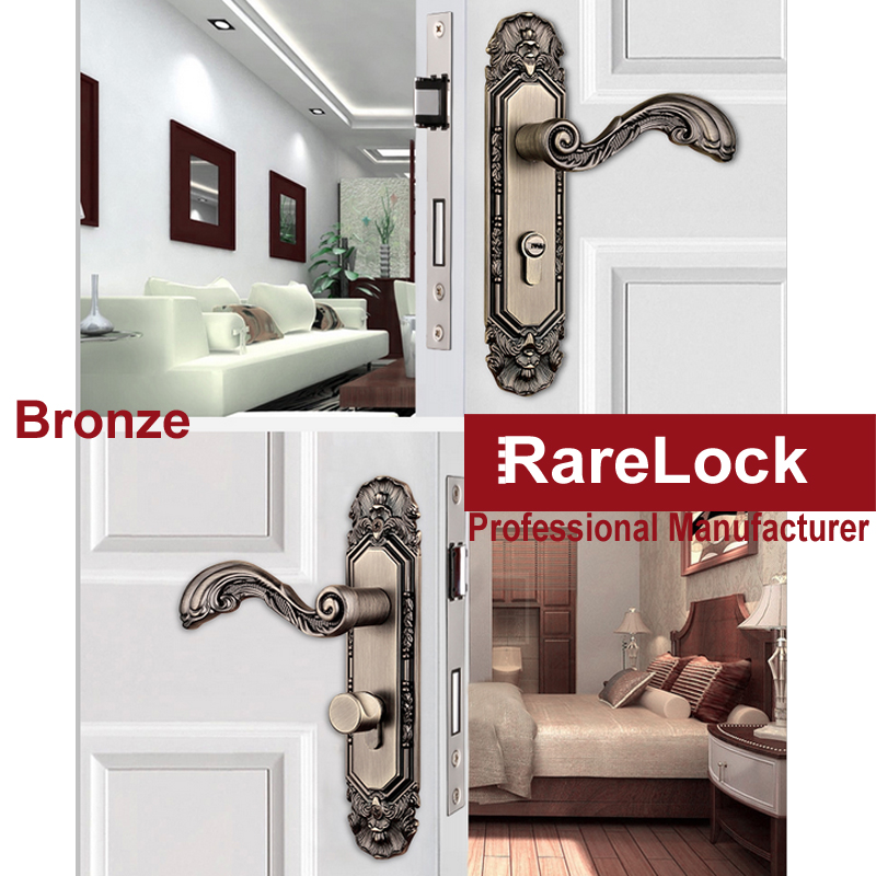 Фотография Rarelock Zinc Alloy Furniture Handle Beautiful Bathroom Bedroom Interior Locks Wooden Door Lock Hardware Accessories