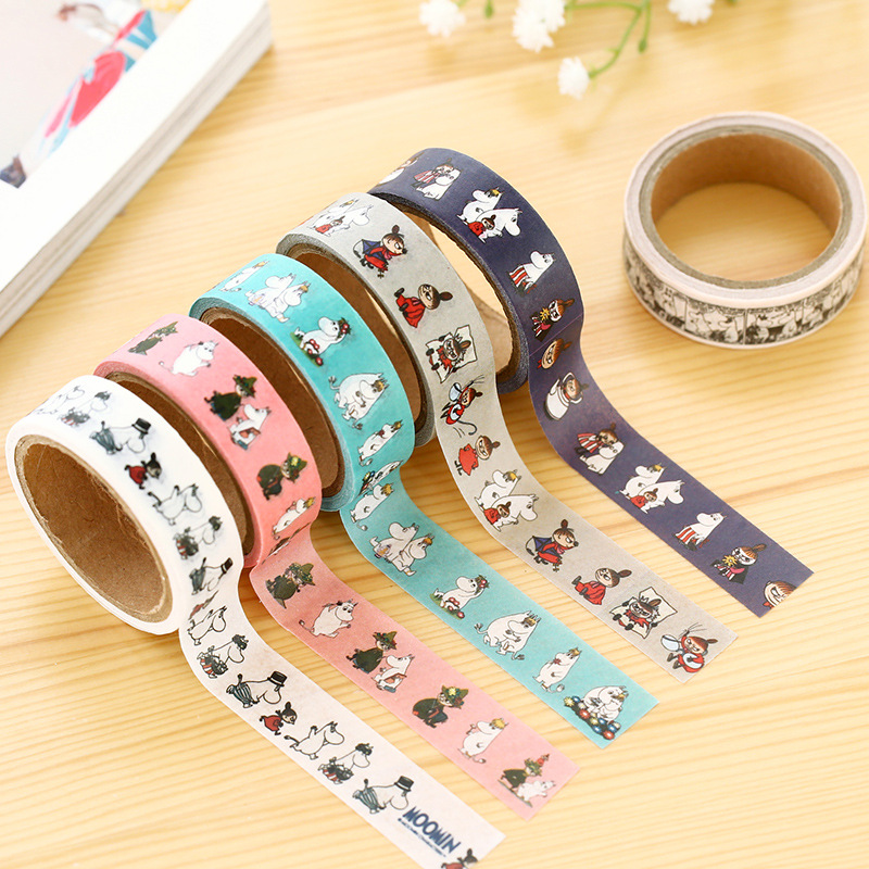 8 pcs/Lot MOOMIN characters paper tape Cartoon japanese washi tape Deco adhesive sticker Stationery School supplies 6873(China (Mainland))